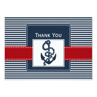navy stripes, anchor, nautical wedding Thank you Card