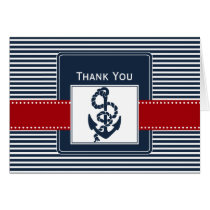 navy stripes, anchor, nautical wedding Thank you Card