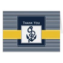 navy stripes,anchor, nautical wedding Thank you Card