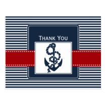 navy stripes, anchor, nautical wedding Thank you Postcard