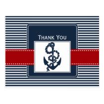 navy stripes, anchor, nautical wedding Thank you Postcard