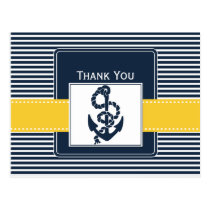 navy stripes,anchor, nautical wedding Thank you Postcard