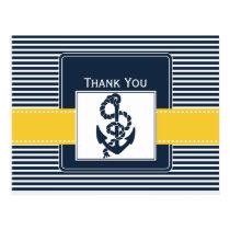 navy stripes,anchor, nautical wedding Thank you Postcard