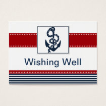 navy stripes, anchor, nautical wishing well card