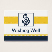 navy stripes,anchor, nautical wishing well card