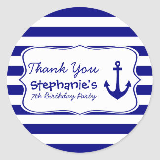 Navy Stripes and Nautical Anchor Birthday Party Classic Round Sticker