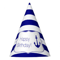 Navy Stripes and Nautical Anchor Birthday Party Party Hat