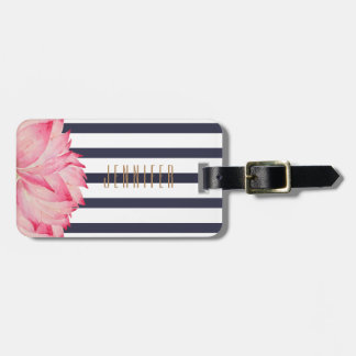 Navy Stripes and Pink Lotus Flower Luggage Tag