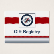 navy stripes,compass, nautical  Gift registry Business Card