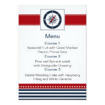 navy stripes,compass, nautical menu cards