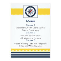 navy stripes,compass, nautical menu cards