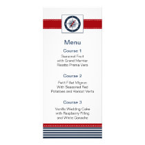 navy stripes, compass, nautical menu cards