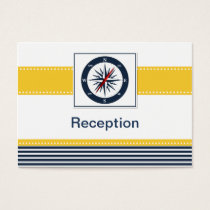 navy stripes,compass, nautical Reception cards