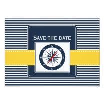 navy stripes, compass, nautical save the date card