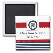 navy stripes, compass, nautical save the date magnet