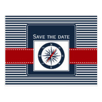 navy stripes, compass, nautical save the date postcard