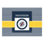 navy stripes and yellow compass nautical wedding invites by mgdezigns