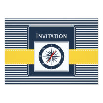 navy stripes, compass, nautical wedding invites