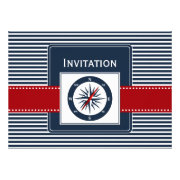 navy stripes, compass, nautical wedding invites by mgdezigns
