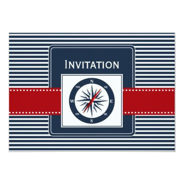 navy stripes, compass, nautical wedding invites