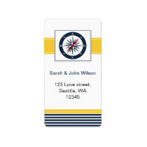 navy stripes,compass, nautical wedding labels