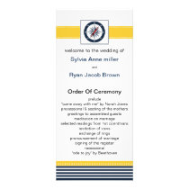navy stripes, compass, nautical wedding programs