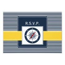 navy stripes,compass nautical wedding rsvp 3.5 x 5 card