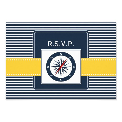 navy stripes,compass nautical wedding rsvp 3.5 x 5 custom invite