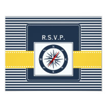 navy stripes, compass, nautical wedding rsvp card