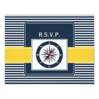 navy stripes, compass, nautical wedding rsvp card