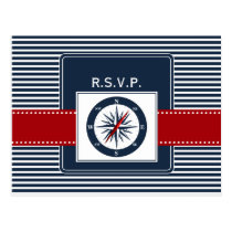 navy stripes, compass, nautical wedding rsvp postcard