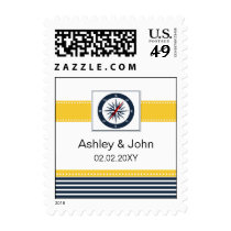 navy stripes,compass, nautical wedding stamps