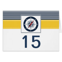 navy stripes,compass nautical wedding table number card