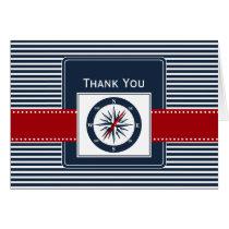 navy stripes, compass, nautical wedding Thank you Card