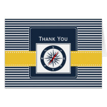 navy stripes, compass, nautical wedding Thank you Card