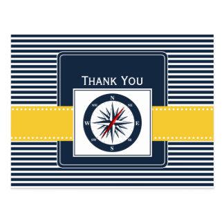 navy stripes,compass, nautical wedding Thank you Postcard