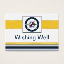navy stripes,compass, nautical wishing well card