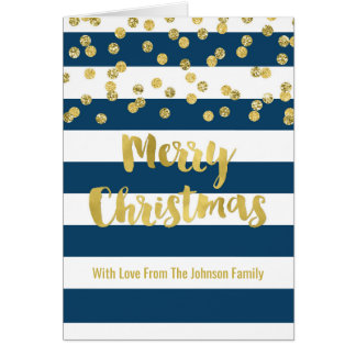 Navy Stripes Gold Confetti Family Merry Christmas Card