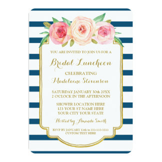 Navy Stripes Gold Pink Floral Bridal Lunch Card