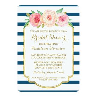 Navy Stripes Gold Pink Floral Bridal Shower Card