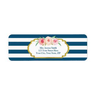 Navy Stripes Gold Pink Floral Return Address Label