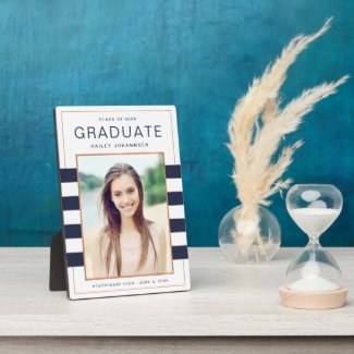 Navy Stripes Graduation Photo Plaque