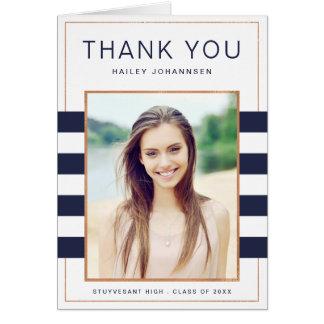 Navy Stripes Graduation Thank You Greeting Card