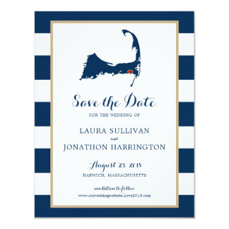Navy Stripes Harwich Wequassett Cape Cod | Wedding Card