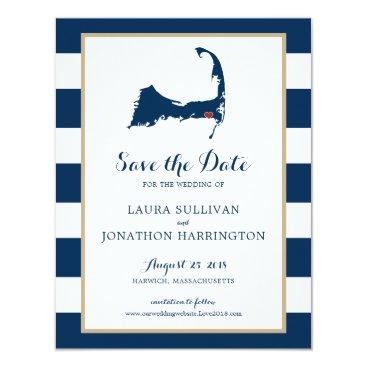 Beach Themed Navy Stripes Harwich Wequassett Cape Cod | Wedding Card