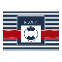 navy stripes, lifebuoy  naurtical rsvp 3.5 x 5 card