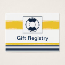 navy stripes, lifebuoy, nautical  Gift registry Business Card