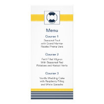 navy stripes, lifebuoy, nautical menu cards