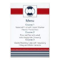 navy stripes,lifebuoy, nautical menu cards