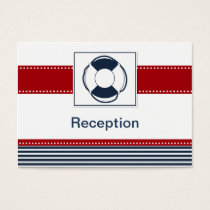 navy stripes,lifebuoy , nautical Reception cards